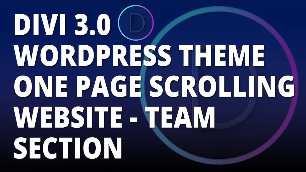 Divi 3.0 WordPress theme – One Page Scrolling Website – Team Section